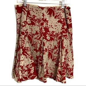 Banana Republic skirt size 10 red tan cotton lined